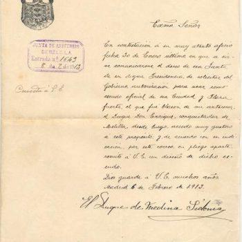 Oficio remitido por el duque de Medina Sidonia en 1913 (AGML)
