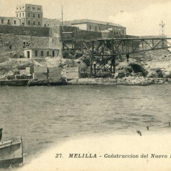 Puerto en construcción. Al fondo Torre del Vigia de Mar