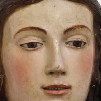 Virgen del Carmen. Detalle del rostro de la Virgen.Fotografía de Miguel Gómez Bernardi.