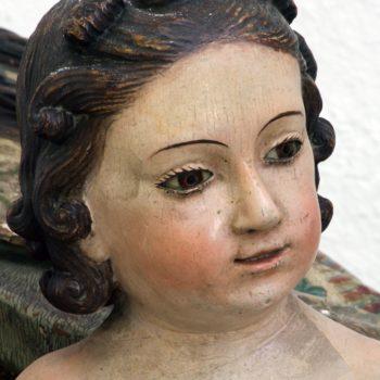 Virgen del Carmen. Detalle del rostro del Niño. Fotografía de Miguel Gómez Bernardi.
