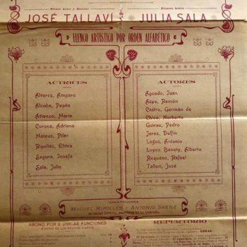 Cartel de la Compañia Sala Tallaví en Málaga. Archivo Eduardo Vasco.1905